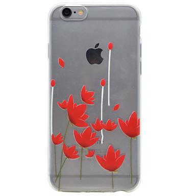 Mert iPhone 7 tok / iPhone 6 tok / iPhone 5 tok Átlátszó / Minta / Dombornyomott Case Hátlap Case Virág Puha TPU AppleiPhone 7 Plus /
