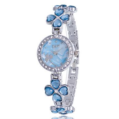 Women's Bracelet Watch Quartz Rhinestone Imitation Diamond Alloy Band Analog Flower Casual Bangle Silver - Purple Pink Light Blue One Year Battery Life / Jinli 377