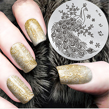 2016 г. Последние шаблон тиснения изображения пластины версия мода шаблон павлин искусства ногтя