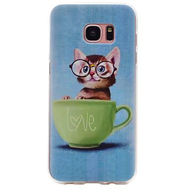billige Galaxy S3 Etuier / Covere-Etui Til Samsung Galaxy S8 Plus / S8 / S7 edge Mønster Bakdeksel Katt Myk TPU
