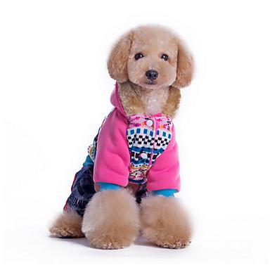 강아지 후드 점프 수트 강아지 의류 캐쥬얼/데일리 따뜻함 유지 플라워 블루 핑크 코스츔 애완 동물