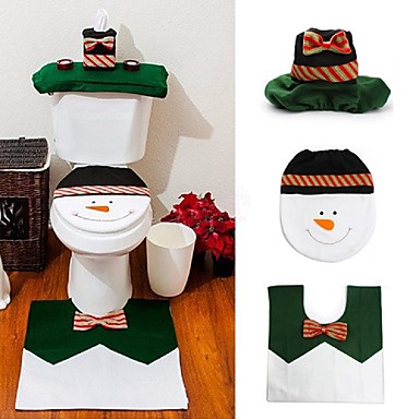 1 określa szczęśliwy bałwana Boże łazienkowy sedes pokrywa dywan Xmas dekoracji rok Adornos de Navidad promocji