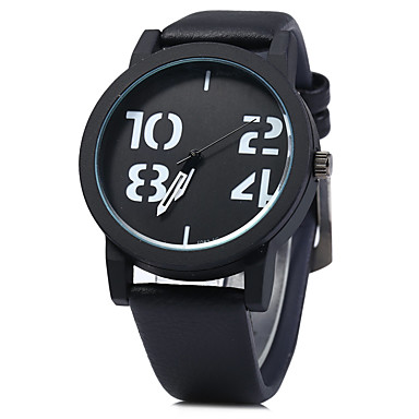 Men's Fashion Quartz Watch Digital Dial Leather Band Vintage Casual Brand