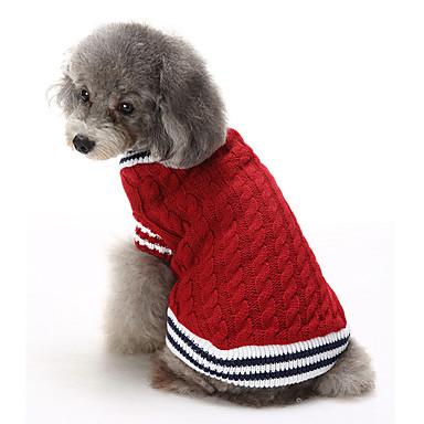 고양이 강아지 스웨터 크리스마스 강아지 의류 캐쥬얼/데일리 따뜻함 유지 컬러 블럭 레드 블루 코스츔 애완 동물