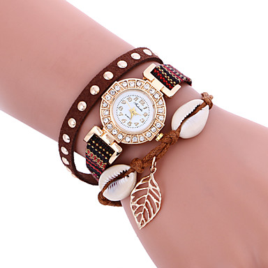 아가씨들 패션 시계 손목 시계 팔찌 시계 캐쥬얼 시계 / 석영 PU 밴드 보헤미안 멋진 캐쥬얼 블랙 화이트 블루 브라운 핑크 로즈