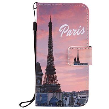 Mert Pénztárca / Kártyatartó / Állvánnyal / Flip / Dombornyomott / Minta Case Teljes védelem Case Eiffel torony Kemény Műbőr AppleiPhone