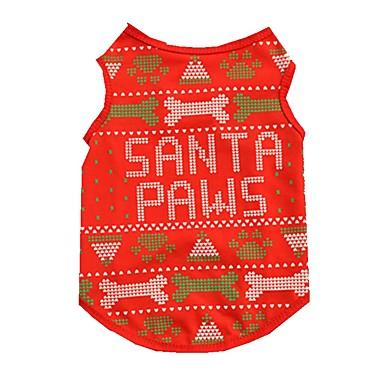 고양이 강아지 조끼 강아지 의류 귀여운 크리스마스 뼈 레드 코스츔 애완 동물