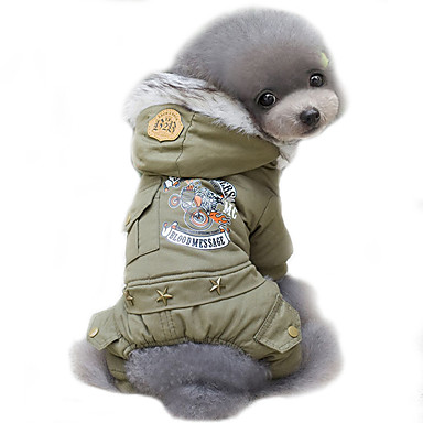 cheap Dog Clothing & Accessories-Dog Coat Hoodie Dog Clothes Police / Military Jade Khaki Cotton Costume For Spring &  Fall Winter Men's Women's Cosplay Keep Warm Windproof