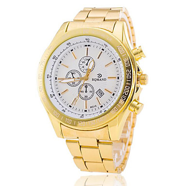 Men's Quartz Wrist Watch Calendar / date / day Alloy Band Charm Dress Watch Fashion Gold