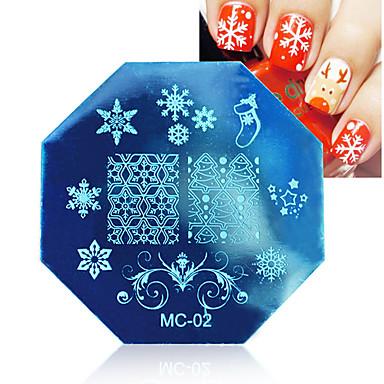 판을 스탬핑 1 개 크리스마스 테마 네일 아트 스탬프 템플릿 이미지 판 태어난 예쁜 손톱