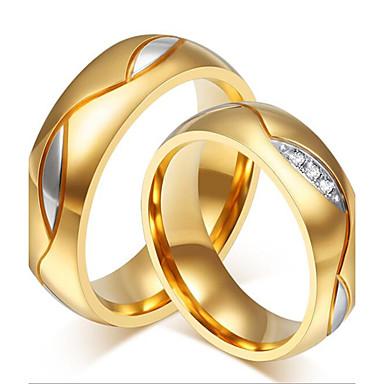 Для пары Стразы Нержавеющая сталь Стразы Позолота Золото 18K Кольца для пар - На заказ Роскошь Мода обожаемый Черный Золотой Кольцо