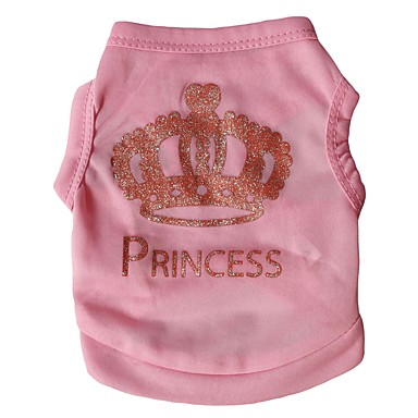 cheap Dog Clothing & Accessories-Cat Dog Shirt / T-Shirt Vest Dog Clothes Tiaras & Crowns Rose Pink Terylene Costume For Spring &  Fall Summer Winter Men's Women's Birthday Holiday Casual / Daily / Windproof