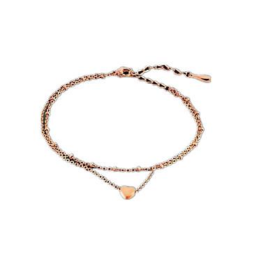 Damskie Łańcuszek na kostkę/Bransoletki Stop Miłość Modny Podwójna warstwa minimalistyczny styl Heart Shape Biżuteria Na Codzienny Casual