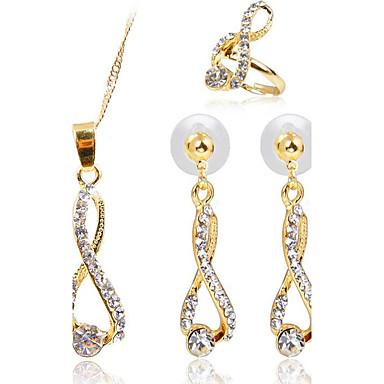 Női Szintetikus gyémánt Ékszer szett Gyűrűk / 1 Nyaklánc / 1 Pár fülbevaló - Arany Kompatibilitás Parti / Napi / Hétköznapi