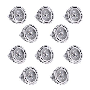 YWXLIGHT® 10pcs 300lm GU5,3(MR16) LED-kohdevalaisimet MR16 3 LED-helmet SMD 3030 Himmennettävissä Koristeltu Lämmin valkoinen Kylmä