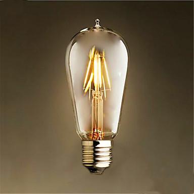 1szt 4W 300-350 lm E26/E27 Żarówka dekoracyjna LED ST58 4 Diody lED COB Dekoracyjna Ciepła biel AC 220-240V