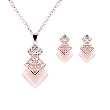Damskie Imitacja diamentu Biżuteria Ustaw 1 Naszyjnik / 1 parę kolczyków - Luksusowy / Modny Kwadrat / Geometric Shape Różowe złoto Na
