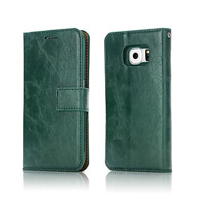 Недорогие Чехлы и кейсы для Galaxy S6 Edge-Кейс для Назначение SSamsung Galaxy S8 Plus / S8 / S7 edge Кошелек / Бумажник для карт Чехол Однотонный Мягкий Настоящая кожа