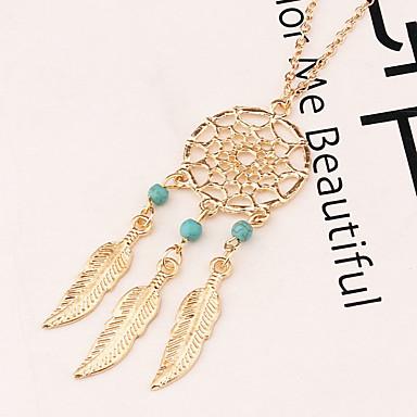 9cf2065f1a80 Mujer Turquesa Collares con colgantes collar largo Chapado en Oro Turquesa  Forma de Hoja Pluma Atrapasueños