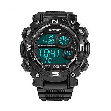 SANDA رجال ساعة رياضية ساعة عسكرية ساعة ذكية ساعات فاشن ساعة المعصم LED الكرونوغراف مقاوم للماء منطقتا زمنية ساعة التوقف قضيةرقمي كوارتز