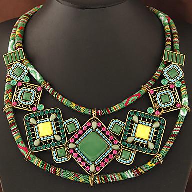 billige Mode Halskæde-Dame Dobbelt Krave Harpiks Damer Geometrisk Bohemisk Europæisk Orange Grøn Halskæder Smykker Til Fest Daglig
