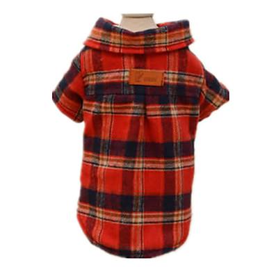 Köpek Tişört Köpek Giyimi Günlük/Sade Kareli Kırmzı Kostüm Evcil hayvanlar için
