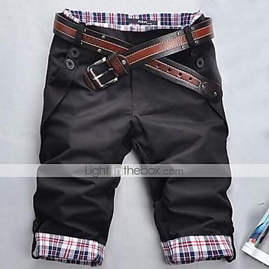 economico Abbigliamento uomo-Per uomo Essenziale Quotidiano Taglia piccola Dritto / Pantaloncini Pantaloni - A quadri Nero Grigio Cachi L XL XXL