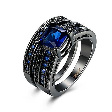 للمرأة خاتم مكعب زركونيا أسود أزرق زركون نحاس الصلب التيتانيوم تقليد الماس معدن التنغستن مربع Geometric Shape ترف حزب يوميا فضفاض مجوهرات