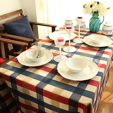 Kwadrat Bawełniany materiał w kratkę Obrusy , 100% Cotton Materiał Hotel Stół Weselne Kolacja Tabela Dceoration Kolacja Decor Favor