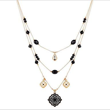 Kadın katmanlı Kolyeler uzun Kolye Kolye Altın Kaplama alaşım Püsküller Bohemia Stili Euramerican Çift katman Çeşitli Renk Mücevher Için