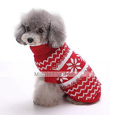 Собака Свитера Одежда для собак В снежинку Темно-синий Красный Хлопок Костюм Для домашних животных Муж. Жен. Мода Рождество