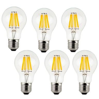KWB 6pcs 7W 760 lm E26/E27 Ampoules à Filament LED A60(A19) 8 diodes électroluminescentes COB Décorative Blanc Chaud Blanc Froid AC