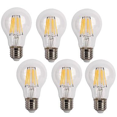 KWB 6pcs 600 lm E26/E27 LED Filament Bulbs A60(A19) 6 leds COB Decorative Warm White Cold White AC 220-240V