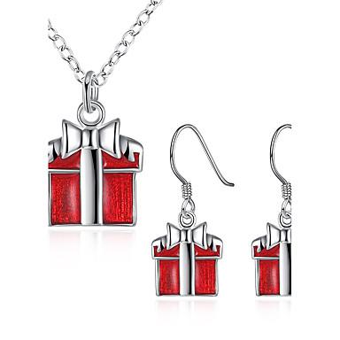 Kadın's Mücevher Noel Günlük 1 Kolye 1 Çift Küpe Kostüm takısı