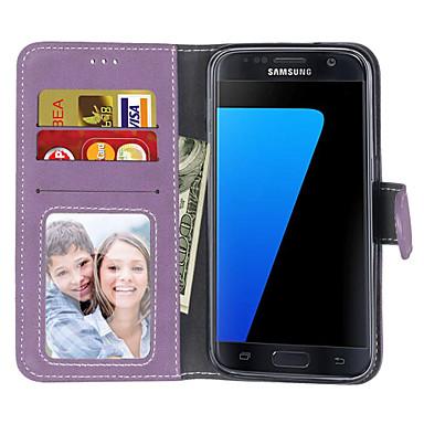 Недорогие Чехлы и кейсы для Galaxy S4 Mini-Кейс для Назначение SSamsung Galaxy S7 edge / S7 / S6 edge Кошелек / Бумажник для карт / Флип Чехол Однотонный Твердый Кожа PU