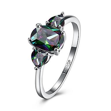 Női Gyűrű Eljegyzési gyűrű Luxus minimalista stílusú Színes Cirkonium Kocka cirkónia Réz Circle Shape Geometric Shape Ékszerek Esküvő