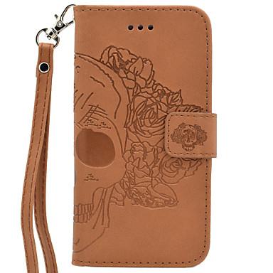 Için Cüzdan / Kart Tutucu / Satandlı / Flip / Süslü Pouzdro Tam Kaplama Pouzdro Kafatası Sert PU Deri için AppleiPhone 7 Plus / iPhone 7