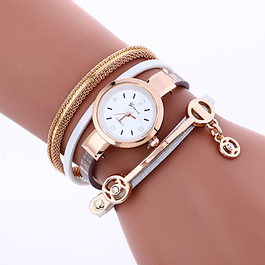 Women's Quartz Bracelet Watch Imitation Diamond PU Band Charm / Bohemian / Fashion / Bangle Black / White / Red / Pink