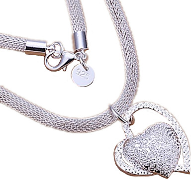 Mulheres Coração Amor Coração Casamento Colares com Pendentes Prata de Lei Colares com Pendentes , Casamento Festa Aniversário Diário
