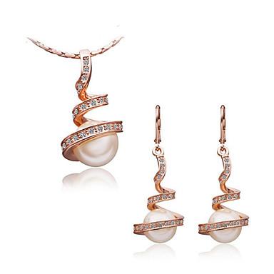 Γυναικεία Σετ Κοσμημάτων Μαργαριταρένια Μαργαριτάρι Προσομειωμένο διαμάντι Πολυτέλεια Ευρωπαϊκό Καθημερινά 1 Κολιέ 1 Ζευγάρι σκουλαρίκια