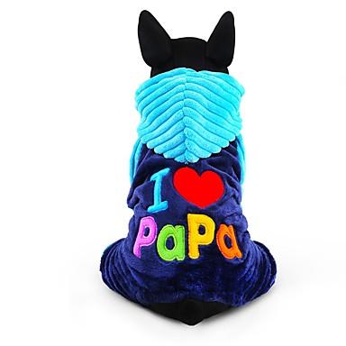 Σκύλος Φόρμες Ρούχα για σκύλους Γράμμα & Αριθμός Τριανταφυλλί Μπλε Κοτλέ Στολές Για κατοικίδια Ανδρικά Γυναικεία Χαριτωμένο Διατηρείτε
