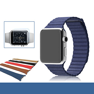 Horlogeband voor Apple Watch Series 4/3/2/1 Apple Leren lus Echt leer Polsband