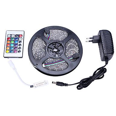 Φως set rgb 5m 3528 300 φως ip65 24 πλήκτρο τηλεχειρισμού 12v 3a τροφοδοτικό