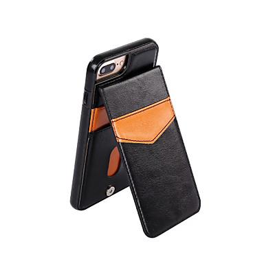إلى حامل البطاقات / مع حامل غطاء غطاء خلفي غطاء لون صلب قاسي جلد اصطناعي إلى Appleفون 7 زائد / فون 7 / iPhone 6s Plus/6 Plus / iPhone