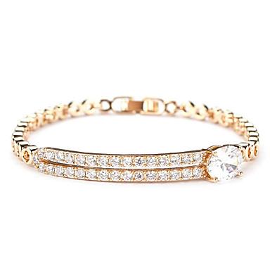 Γυναικεία Βραχιόλια με Αλυσίδα & Κούμπωμα Μοντέρνα μινιμαλιστικό στυλ κοσμήματα πολυτελείας Ζιρκονίτης Cubic Zirconia Κοσμήματα Για