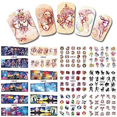 1sets, 12designs Nail Art autocolant Decals de transfer de apă machiaj cosmetice Nail Art Design