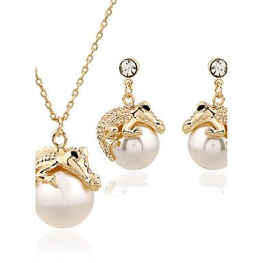 Γυναικεία Κοσμήματα Σετ - Μαργαριτάρι, Προσομειωμένο διαμάντι Πολυτέλεια Περιλαμβάνω Χρυσό Για Γάμου / Πάρτι / Καθημερινά