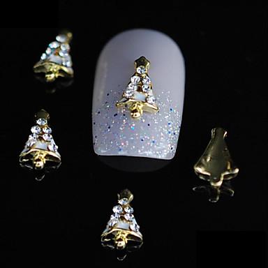 10pcs bonito árvore de natal 3d liga prego strass ouro diy unha arte decoração