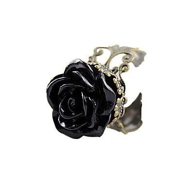 Kadın's Bildiri Yüzüğü - Arkilik, Reçine, alaşım Güller, Çiçek Açık Ayarlanabilir Siyah Uyumluluk Günlük