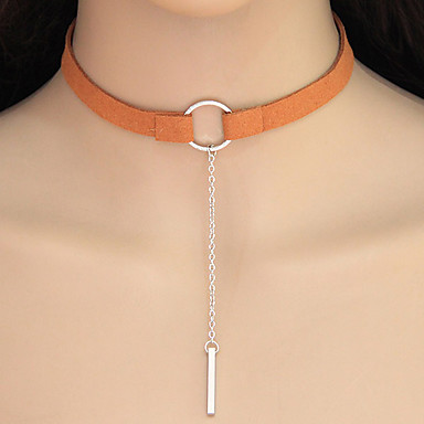 Women's Geometrical Choker Necklace Tattoo Choker Ladies Geometric Tattoo Style European Silver Orange Golden Necklace Jewelry For Casual